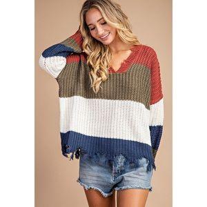 Kara Distressed Chunky Sweater - Olive/Ivory